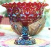 Red Carnival Glass Compote - $100